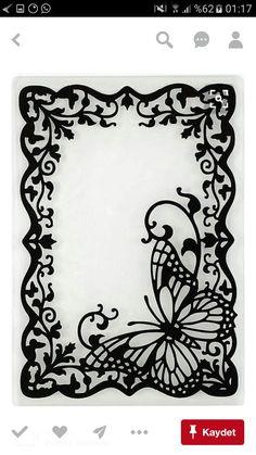 Butterfly Frame Embossing Folder by Hot Off The Press Inc - fancy frames - Paper Kirigami, 3d Zeichenstift, Stencils, Paper Art, Paper Crafts, Butterfly Frame, Butterfly Stencil, Wood Burning Patterns, Parchment Craft