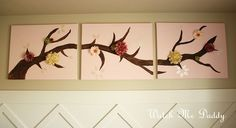 Tutorial for a 3-piece painted canvas of a tree branch with various flowers.  DIY