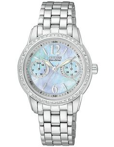 Citizen Eco-Drive Ladies Silhouette Crystal Watch - MOP Dial - Stainless