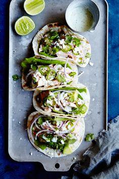 Salmon Tacos With Avocado Cilantro Cream