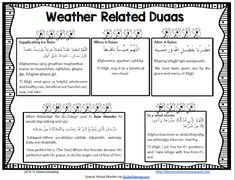Weather Related Duaa Poster Duaa when it rains Islamic Studies, When It Rains, Calendar, Bullet Journal, Study, Weather, Poster, Studio, Studying
