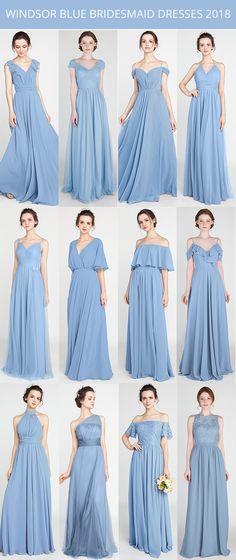 windsor blue bridesmaid dresses 2018 trends #bridalparty #bridesmaiddresses #bluewedding #weddingcolors