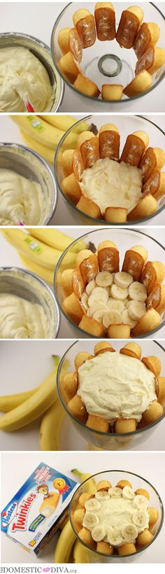 Hostess Twinkies are Back! Twinkie Banana Trifle Recipe – The Domestic Diva Trifle Bowl Recipes, Trifle Dish, Trifle Desserts, Trifle Recipe, Easy Desserts, Delicious Desserts, Dessert Recipes, Yummy Food, Puddings