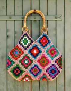 crochet granny square &  liberty cotton bag with par hooknhula, $114.00