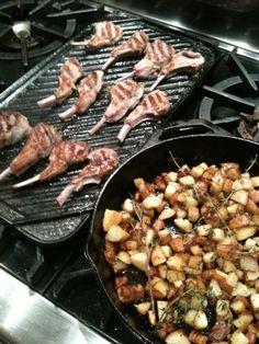 Grilled Lamb Chops & Skillet Yukon Gold Potatoes with Fresh Herbs #SundaySupper @CristinaCooks