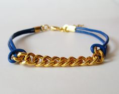 My DIY: Dark Blue Leather Chain Bracelet by starryday