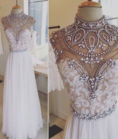 White A-line lace long prom dress, white evening dress for teens