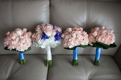 White and Blush Pink Wedding Bouquet and Bridesmaids Bouquets of Flowers