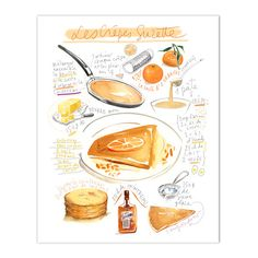 Crepes suzette recipe print, French recipe poster, 8X10 print, Kitchen wall art, Food artwork, Crepes illustration, Watercolor painting