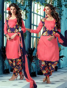 Silk Pink Floral Print Semi Stitched Jacket Style Suit - 9605