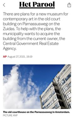 Central Government, New Museum, Real Estate Agency, Amsterdam, Old Things, How To Plan, Contemporary, News, Building