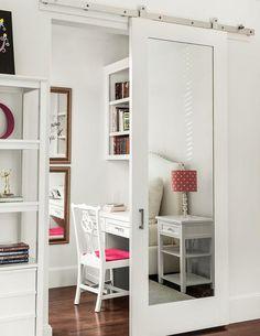 Mirrored Barn Door on Rails, Transitional, Bedroom