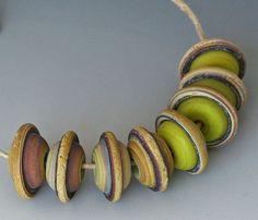 Rustic Saucers  8 Handmade Lampwork Beads  Tumble