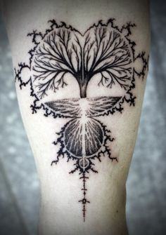 This tattoo came from an idea to create an image to bring together science and nature. The outline is the Mandelbrot Set, discovered by Benoit Mandelbrot in the late 70s, and often considered to be one of the first fractal images ever produced. Inside the Set is the Tree of Life as interpreted by the tattoo artist, David Hale of LoveHawk Studios in Athens, Ga. ...
