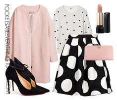 """Pink & Polka Dots"" by adoremycurves ❤ liked on Polyvore featuring Lacoste, Boutique Moschino, H&M, Christian Louboutin, Prada and Lancôme"