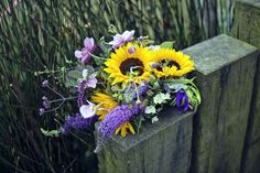 Seasonal bridal bouquet with sunflowers and buddleia – photography http://www.mark-tattersall.co.uk/
