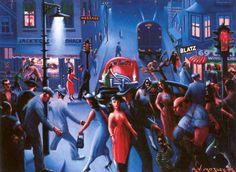 Archibald Motley, Bronzeville at Night, 1949