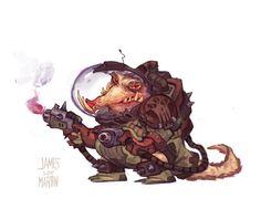 Thug with Flame Pistols in Space, James Martin on ArtStation at https://www.artstation.com/artwork/gL04E