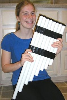 One digeradoo wasn't enough - She went all Zamfir on us.  But so cool she even won the Science Olympiad with her creation!