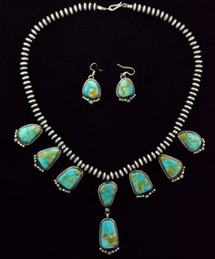 Native American Navajo Indian Jewelry Sterling Silver Turquoise Bead Necklace | eBay