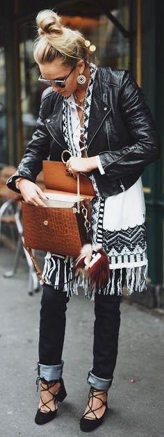 Nina Suess Layered Fringed Ethnic Kimono Fall Inspo