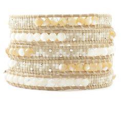 Chan Luu - White Mix Beaded Wrap Bracelet on Petal Leather, $210.00 (http://www.chanluu.com/wrap-bracelets/white-mix-beaded-wrap-bracelet-on-petal-leather/)