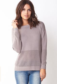 Show Off Mixed Knit Sweater | FOREVER21 Show off your cozy chic style in a #CableKnit sweater #ForeverHoliday #Love21