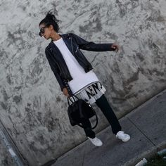 LA Blogger Tania Sarin wearing each x other dress and pants with kenneth cole sneakers and givenchy bag