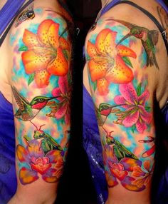 Amazing Colorfull Skull Flower Tattoo Hummingbirds-and-Lil
