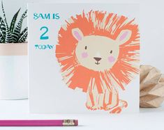 Personalised kids' birthday card, cute lion card for boys, for girls, any age birthday card, any occasion, your own number, first birthday