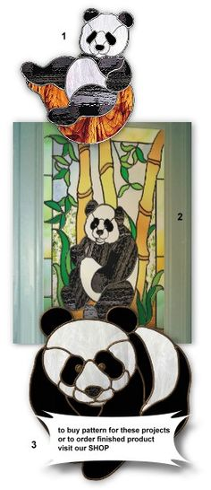 pandas in stained glass