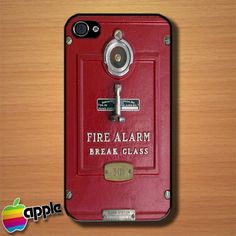 Vintage Red Fire Alarm Custom iPhone 4 or 4S Case Cover