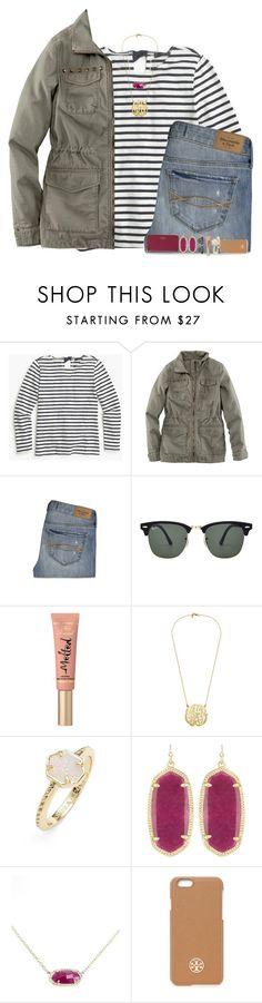 """Fall throwback "" by sweettoothegj ❤ liked on Polyvore featuring J.Crew, H&M, Abercrombie & Fitch, Kate Spade, Ray-Ban, Too Faced Cosmetics, Kendra Scott and Tory Burch"