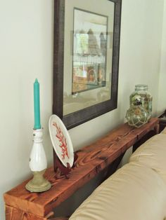 Long Narrow Sofa Table Brown Wood Behind Black Leather Couch Applying Chic The