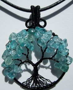 Blue Apatite Tree of Life Pendant by Mariesinspiredwire on Etsy, $25.00