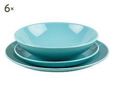 Servizio di piatti in gres azzurro - 18 pezzi 55€