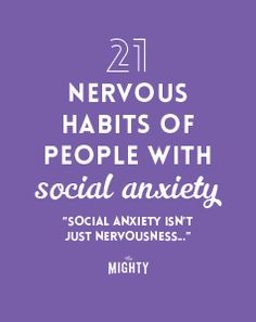 21 Nervous Habits of People With Social Anxiety Wow so inciteful! So many describe me but a lot of others I didn't realize describe my son! Anxiety Tips, Anxiety Relief, How To Help Anxiety, Anxiety Facts, Signs Of Anxiety, Stress Relief, Social Anxiety Symptoms, Behance, Poems