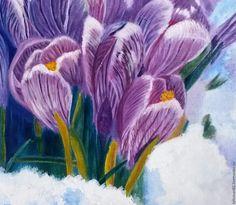"""Купить Картина маслом """"Крокусы 2"""", картина цветы, картина весна, крокус - фиолетовый, розовый"""