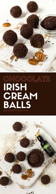 Homemade food gifts don't get much more decadent than these no-bake Dark Chocolate Irish Cream Balls. #irishcream #chocolate #foodgifts #holidaybaking #holidays