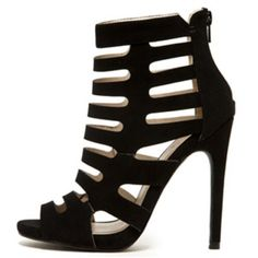 Black Peep Toe Strappy Caged Bootie True to size Qupid Shoes