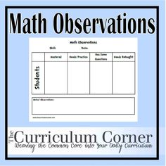 Observation Notes Use this page to keep track of observations you make during math time. Includes a spot to write the skill or common core standard being assessed and the date. This will help you keep track of your informal observations in your classroom! It's a great help when it comes to pulling small groups …