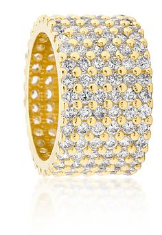 Bella Shaye Jewelry's Pave Diamond Eternity Ring in 14kt Gold with Diamond CZ's.  Just in case a thin band of Sparkle isn't enough for you!  www.bellashaye.com #directsales  #homejewelrysales  #jewelrypartyplancompany