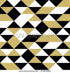 Black, white and gold triangles, seamless abstract vector pattern