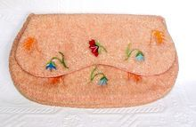 1930s Saks Fifth Avenue Belgium Pink Beaded Embroidered Satin Purse