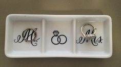 Personalized Monogram Ring Dish. Gift, Ring Tray, Mr and Mrs. by CreativelyHandmadeNE on Etsy https://www.etsy.com/listing/212548846/personalized-monogram-ring-dish-gift