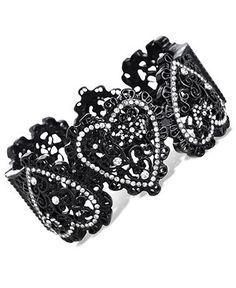 Betsey Johnson Bracelet, Black Glass Crystal Filigree Heart Bangle