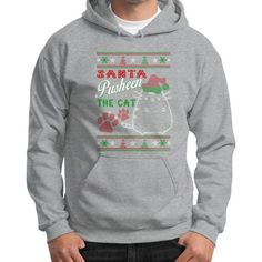 Santa pusheen the cat Gildan Hoodie (on man)