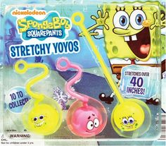 """2"""" SpongeBob SquarePants Stretchy YoYos Filled Refill Acorn Vending Capsules - 250 ct  Will dispense in machines with a 2"""" vending wheel     Each vending capsule contains one stretchy yoyo. The vending mix consists of 250 assorted yoyos, pre-packaged in 2"""" capsules and ready to vend. Each stretchy yoyo features a funny face from Nickelodeons popular characters SpongeBob SquarePants or Patrick Star. They stretch over 40 inches!"""