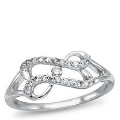 Forever Heart , 10K White Gold and Diamond Ring, 1/5 ctw.