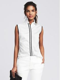 Fitted Non-Iron Piped Sleeveless Shirt | Banana Republic